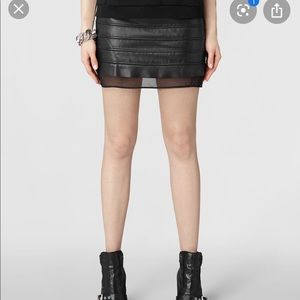 All Saints black leather mini skirt